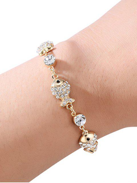 women's Rhinestone Fish Design Chain Bracelet - GOLD  Mobile