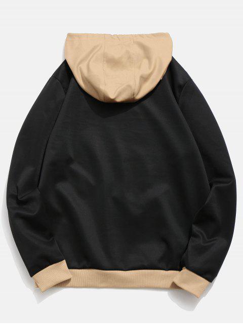latest Contrast Color Letter Pocket Hoodie - JET BLACK XS Mobile