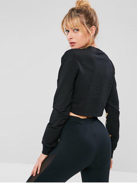 shop ZAFUL Star Crop Sweatshirt - BLACK L Mobile