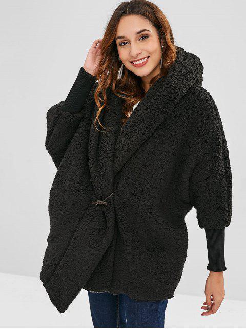 Abrigo de invierno de peluche mullido de gran tamaño - Negro Única Talla Mobile
