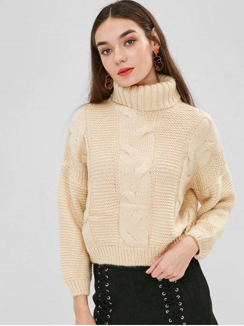 lady Drop Shoulder Cable Knit Turtleneck Sweater - CORNSILK ONE SIZE Mobile