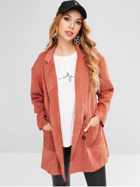 ladies ZAFUL Patch Pockets Longline Corduroy Blazer - CHESTNUT RED S Mobile