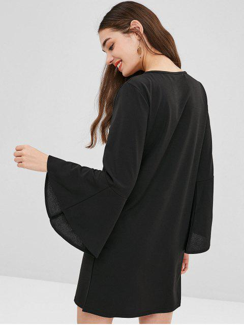 online Flared Cuffs Tunic Dress - BLACK S Mobile