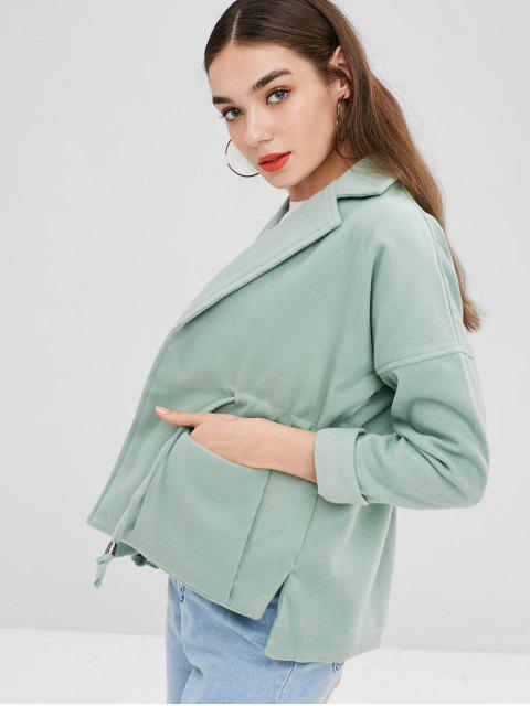hot Lapel Patch Pockets Faux Wool Coat - DARK SEA GREEN S Mobile