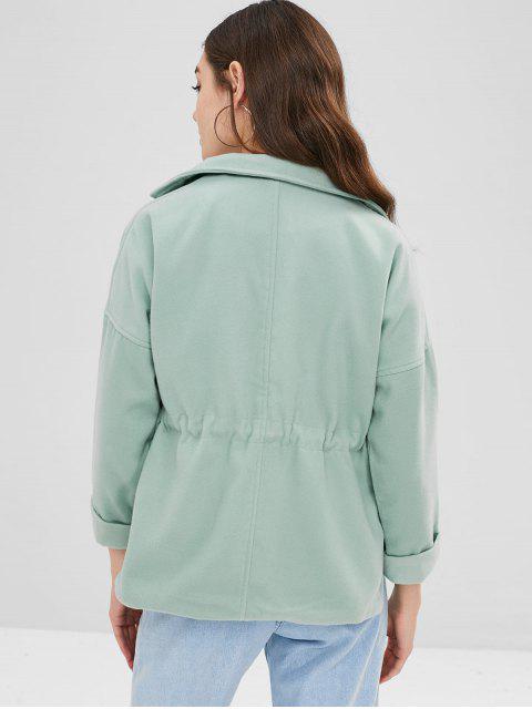 sale Lapel Patch Pockets Faux Wool Coat - DARK SEA GREEN XL Mobile