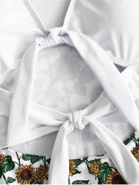ZAFUL Girasol atado traje de baño sin espalda - Blanco M Mobile