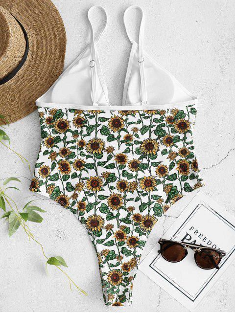 chic ZAFUL Sunflower Tied Backless Swimsuit - WHITE L Mobile