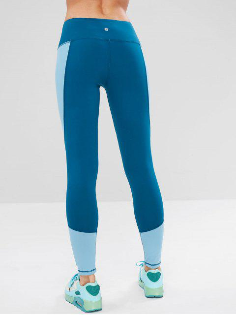 Color block ancho de la cintura de gimnasio leggings - Azul de Seda M Mobile