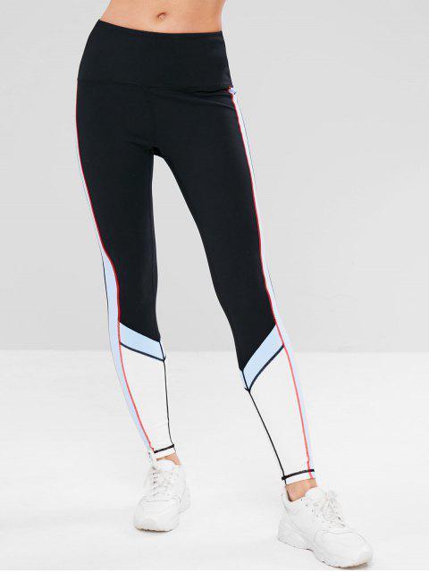 ZAFUL Color Block Inner Pocket Leggings deportivos - Negro L Mobile