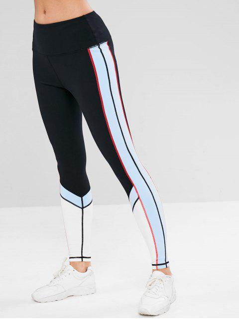 ZAFUL Color Block Inner Pocket Leggings deportivos - Negro S Mobile