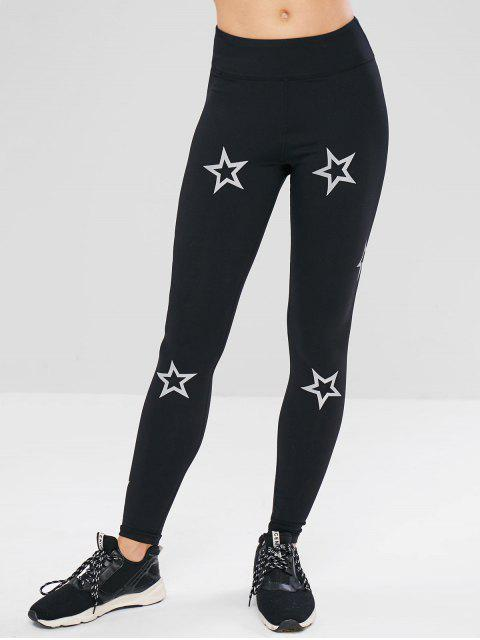 ZAFUL Skinny Star Print Active Leggings - Negro L Mobile