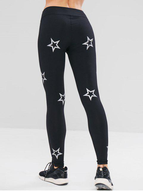 chic ZAFUL Skinny Star Print Active Leggings - BLACK S Mobile