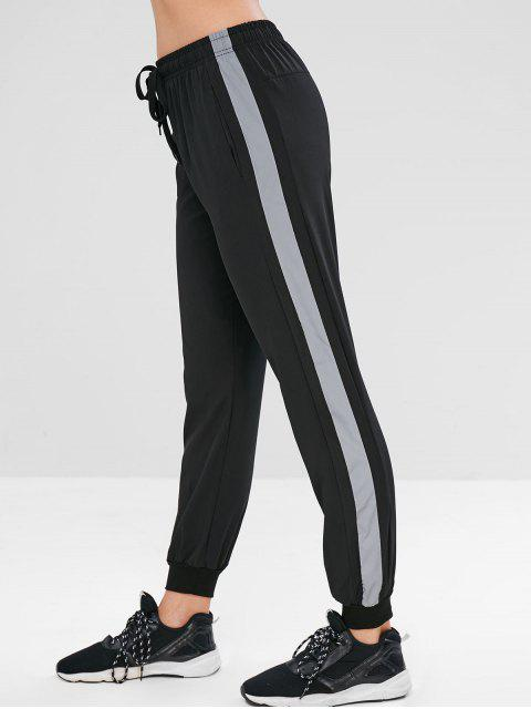 fancy Reflective Side Drawstring Jogger Pants - BLACK M Mobile