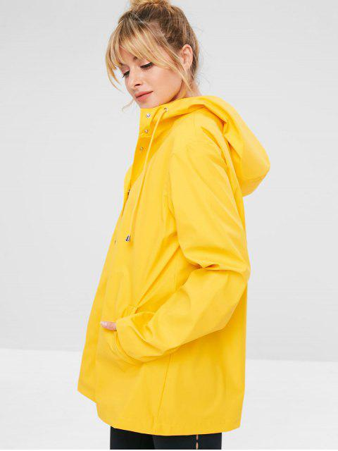 hot ZAFUL Snap Button Hooded Raincoat - YELLOW M Mobile