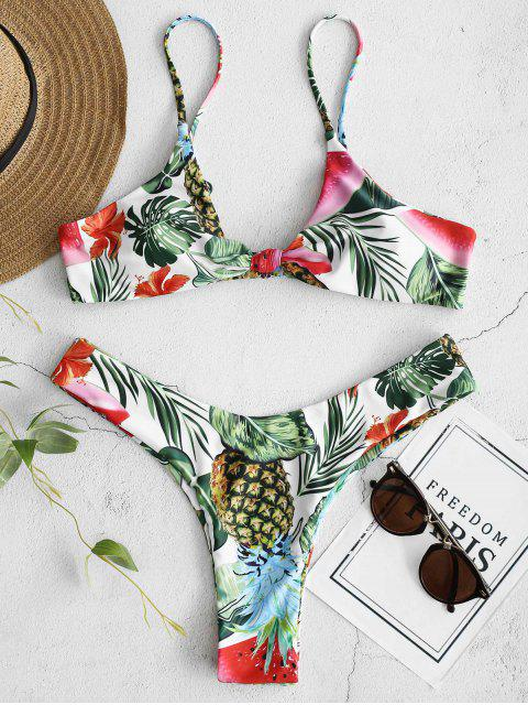 women's ZAFUL Pineapple Leaf Knotted Bikini Set - WHITE L Mobile