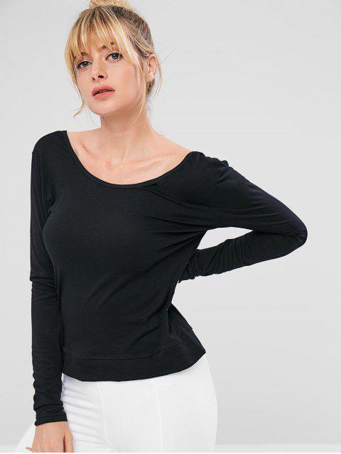 Camiseta deportiva de manga larga con espalda abierta - Negro M Mobile