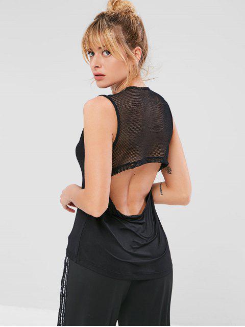 Panel de rejilla recortable camiseta sin mangas deportiva - Negro L Mobile