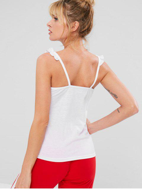 outfit ZAFUL Sports Frilled Cami Tank Top - WHITE L Mobile