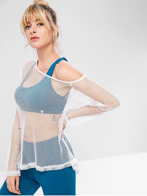 ZAFUL Fishnet Skew Neck T-shirt - Blanco L Mobile