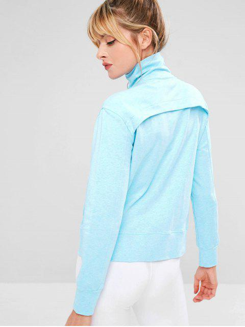 fashion ZAFUL Ruched Zipper Pocket Jacket - LIGHT SKY BLUE L Mobile