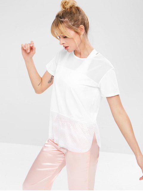 ladies Mesh Panel Hollow Out T-shirt - WHITE M Mobile