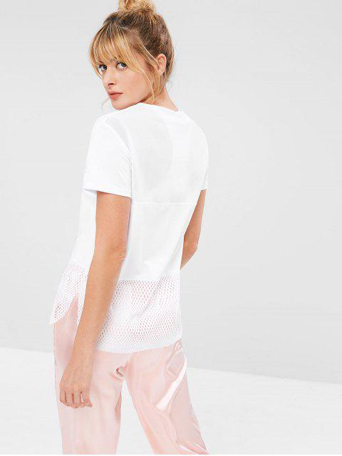 latest Mesh Panel Hollow Out T-shirt - WHITE L Mobile