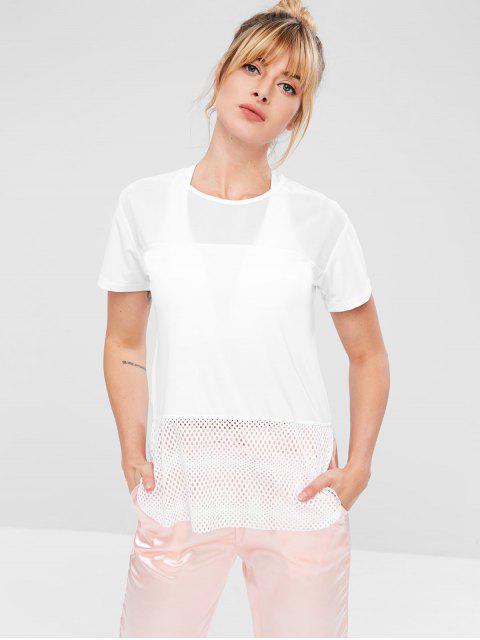El panel de malla ahueca hacia fuera la camiseta - Blanco L Mobile