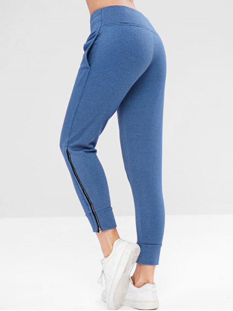 ZAFUL Drawstring Zipper Side Jogger pantalones - Azul Océano  S Mobile
