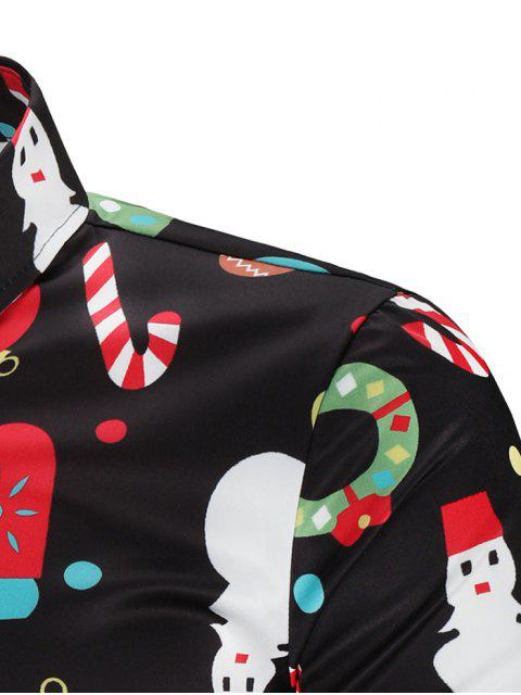 buy Christmas Theme Button Up Shirt - MULTI 3XL Mobile