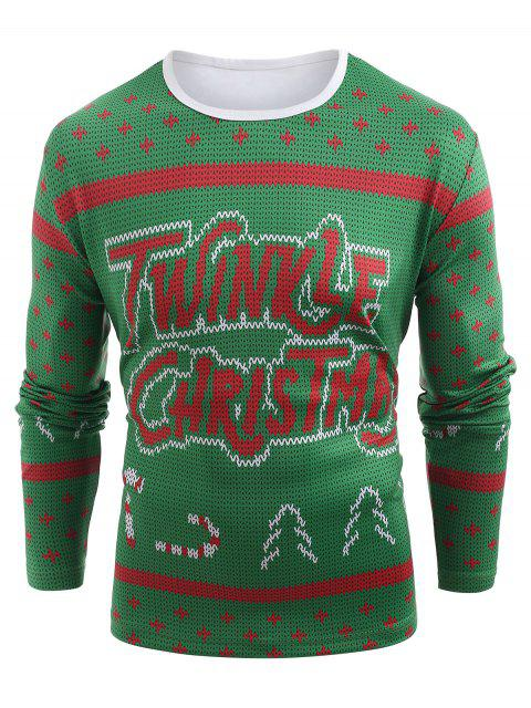 Knitted Sweater Print Christmas T-shirt - 中等春天綠色 M Mobile