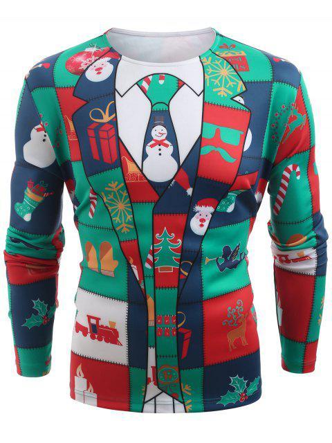 Christmas Elements Blazer Print T-shirt - 多-A 2XL Mobile