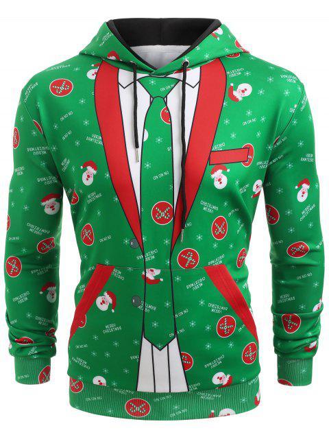 lady Christmas Blazer Pocket Hoodie - CLOVER GREEN M Mobile