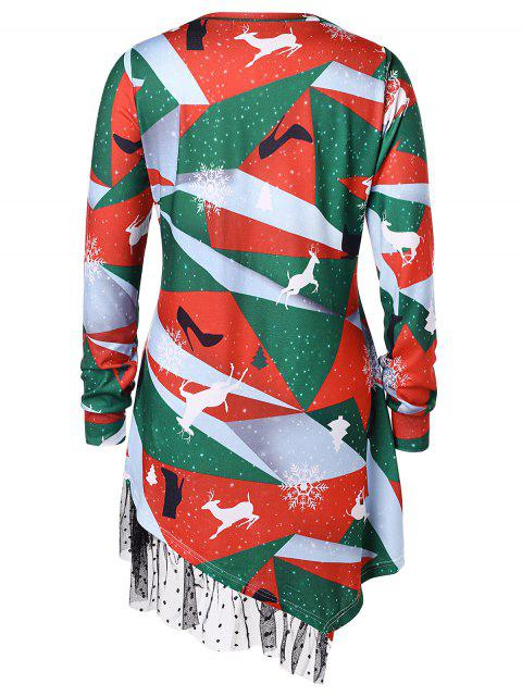 latest Plus Size Printed Asymmetrical Christmas T-shirt - MULTI 3X Mobile