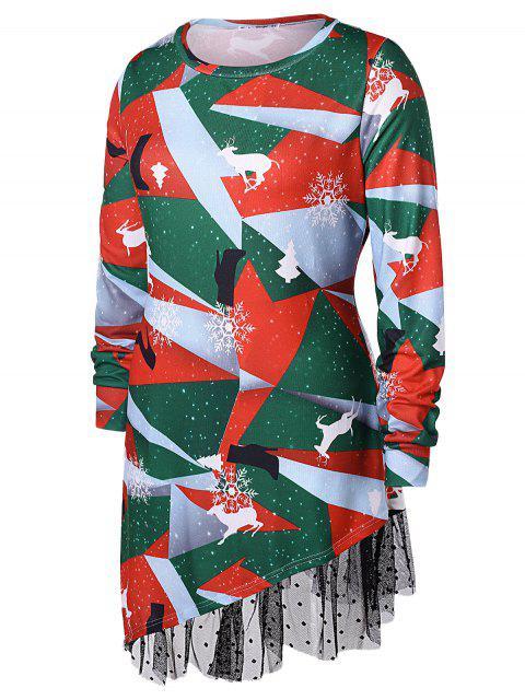 fashion Plus Size Printed Asymmetrical Christmas T-shirt - MULTI 2X Mobile