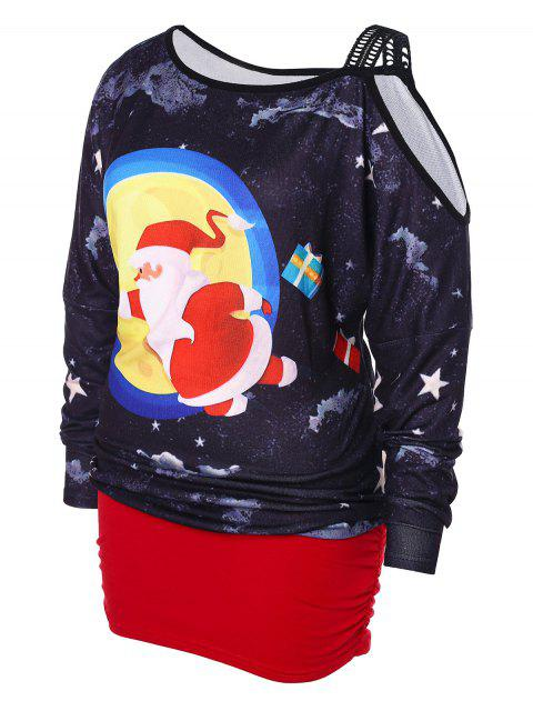 fancy Plus Size Cold Shoulder Christmas Blouson T-shirt - MULTI 5X Mobile
