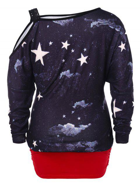 women Plus Size Cold Shoulder Christmas Blouson T-shirt - MULTI 2X Mobile