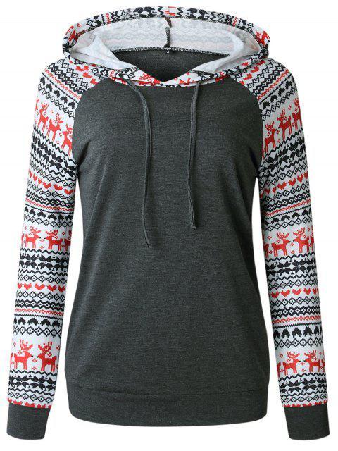 Christmas Raglan Sleeve Pullover Hoodie - 深灰色 M Mobile