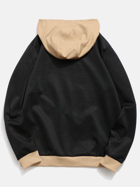 trendy Contrast Color Letter Pocket Hoodie - JET BLACK L Mobile