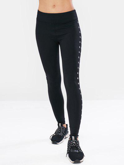 a2a046a6915811 ... ZAFUL Star Printed Workout Leggings - Black - Black M