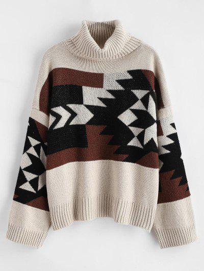 Turtleneck Geo Jacquard Drop Shoulder Sweater - Multi