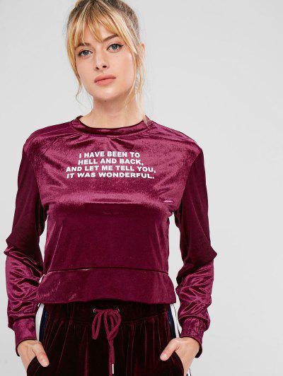 Boxy Velvet Letter Print Short Sweatshirt - Maroon L