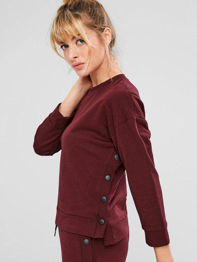 ZAFUL Drop Shoulder High Low Button Sweatshirt - Red Wine S