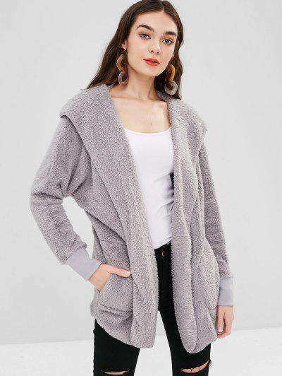 5c6bf0757447 Solid Color Hooded Fluffy Teddy Coat - Light Gray S ...