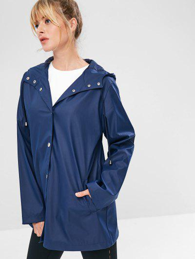 ZAFUL Snap Button Hooded Raincoat, Cadetblue