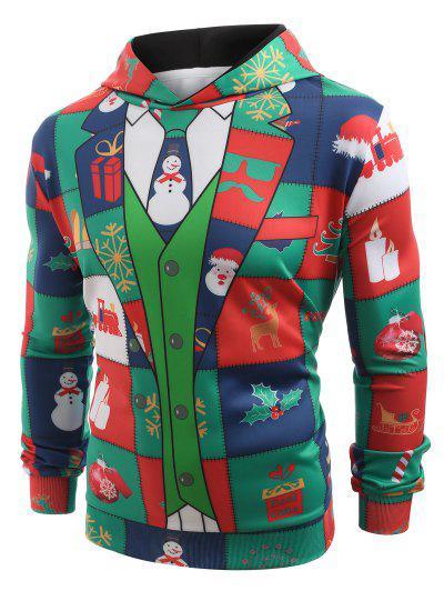 Funny Christmas Blazer Print Hoodie - Multi L