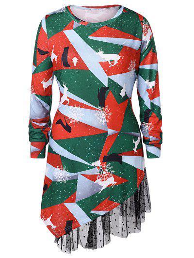 Plus Size Printed Asymmetrical Christmas T-shirt - Multi L