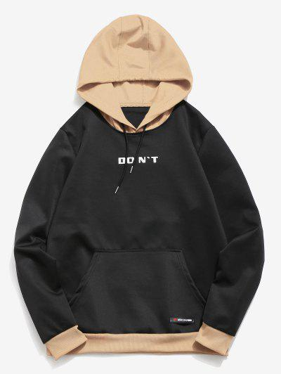 Contrast Color Letter Pocket Hoodie - Jet Black Xs