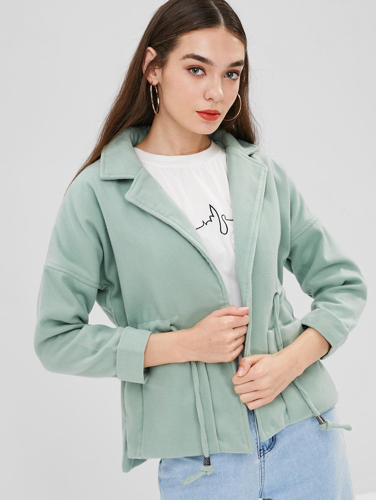 Lapel Patch Pockets Faux Wool Coat, Dark sea green