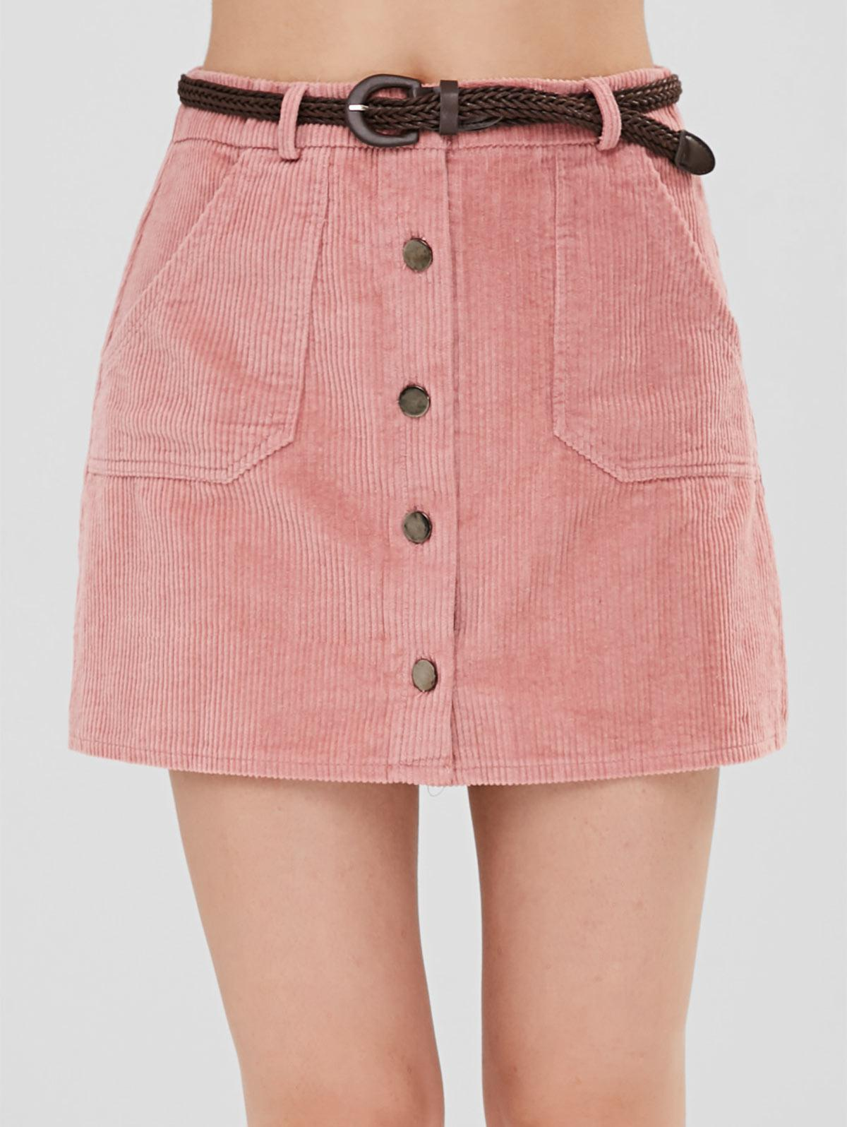 Button Up Corduroy Belted Skirt фото