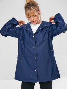 ZAFUL Snap Button Hooded Raincoat - طالبا الأزرق S